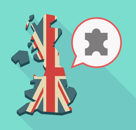 Illustration of a long shadow UK  map and its flag with a comic balloon and a puzzle piece