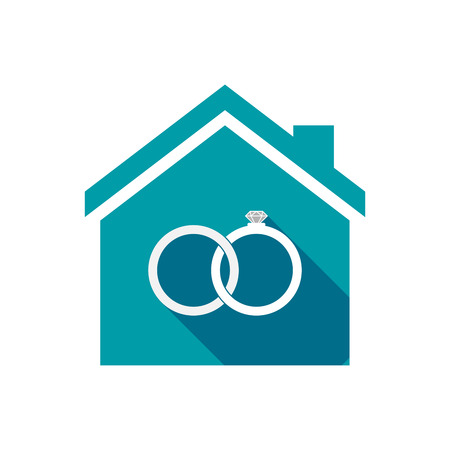 bonded: Illustration of an isolated vector house with  two bonded wedding rings