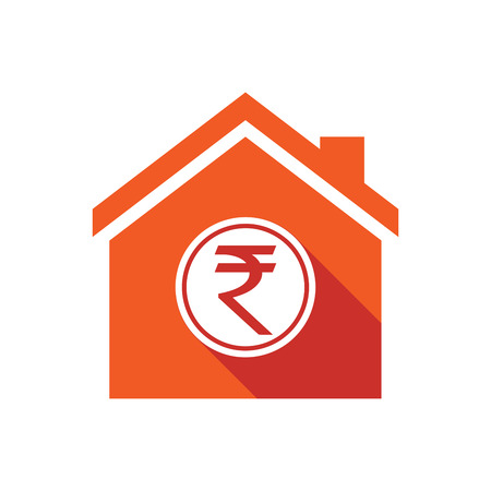 house exchange: Illustration of an isolated vector house with  a rupee coin icon Illustration