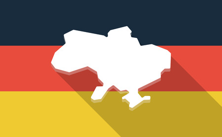 emblem of ukraine: Illustration of a long shadow Germany flag with  the map of Ukraine Illustration