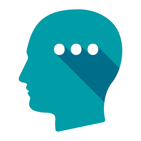 ellipsis: Illustration of an isolated long shadow male head with  an ellipsis orthographic sign