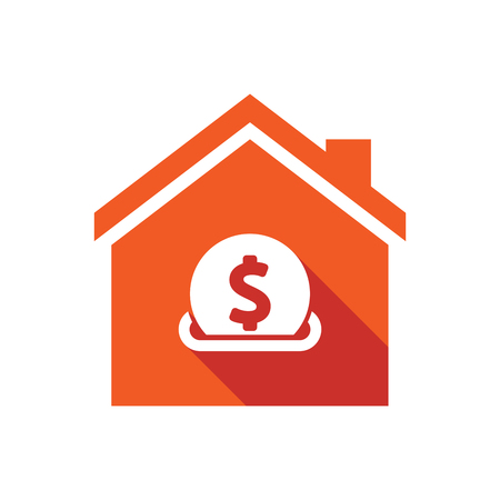 Illustration of an isolated vector house with  a dollar coin entering in a moneybox