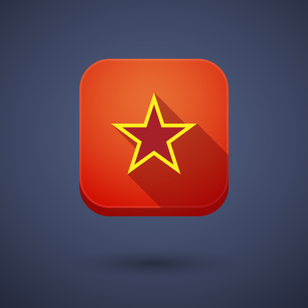 red star: Illustration of a long shadow application square button with  the red star of communism icon Illustration
