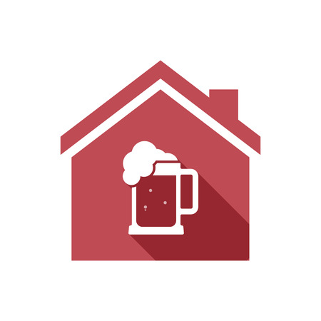 tarro cerveza: Illustration of an isolated vector house with  a beer jar icon