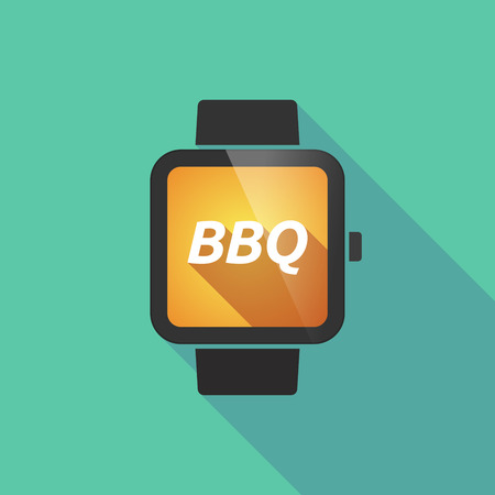 long term: Illustration of a long shadow smart watch with    the text BBQ Illustration