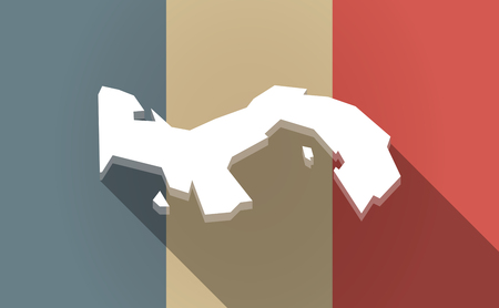 bandera de panama: Illustration of a long shadow France flag with  the Panama map Vectores