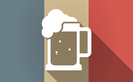 tarro cerveza: Illustration of a long shadow France flag with  a beer jar icon