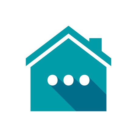 ellipsis: Illustration of an isolated vector house with  an ellipsis orthographic sign Illustration