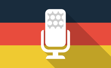 Illustration of a long shadow Germany flag with  a microphone sign