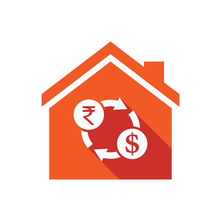 house exchange: Illustration of an isolated vector house with  a rupee and dollar exchange sign