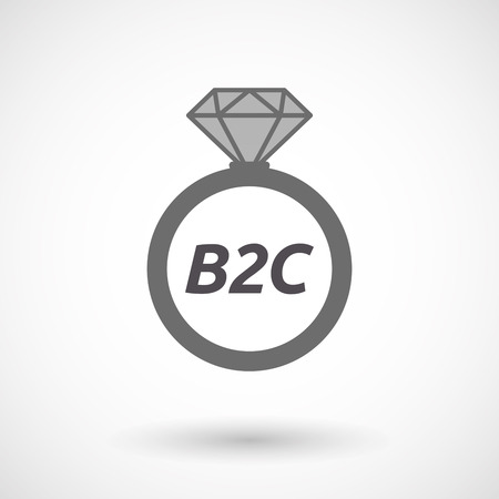 b2c: Illustration of an isolated wedding ring with    the text B2C Illustration