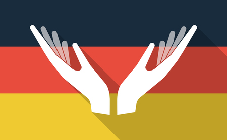 offering: Illustration of a long shadow Germany flag with  two hands offering Illustration