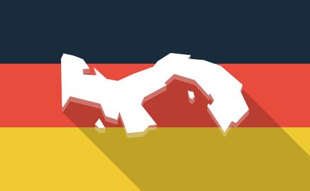 bandera de panama: Illustration of a long shadow Germany flag with  the Panama map