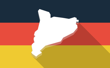 autonomia: Illustration of a long shadow Germany flag with  the map of Catalonia Vectores