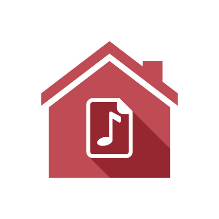 partition musique: Illustration of an isolated vector house with  a music score icon Illustration
