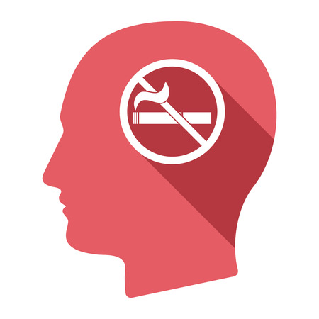 abstain: Illustration of an isolated long shadow male head with  a no smoking sign