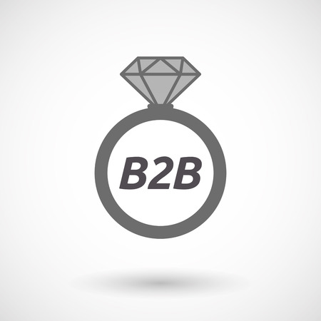 b2b: Illustration of an isolated wedding ring with    the text B2B Illustration
