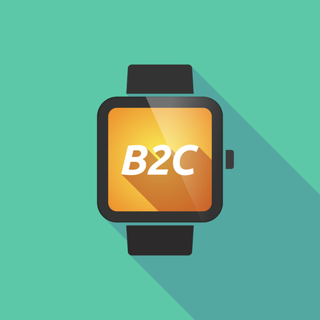 b2c: Illustration of a long shadow smart watch with    the text B2C
