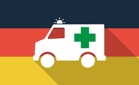 Illustration of a long shadow Germany flag with  an ambulance icon Illustration
