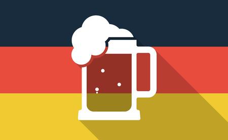 jarra de cerveza: Ilustración de una larga sombra Bandera de Alemania con una jarra de cerveza icono