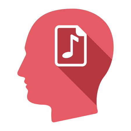 partition musique: Illustration of an isolated long shadow male head with  a music score icon Illustration