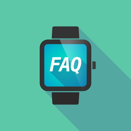 long term: Illustration of a long shadow smart watch with    the text FAQ
