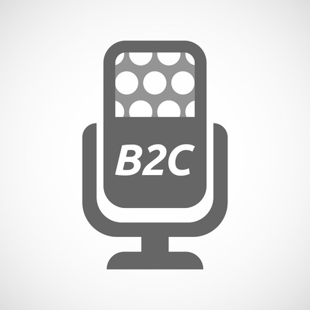 customer records: Illustration of an isolated microphone with    the text B2C