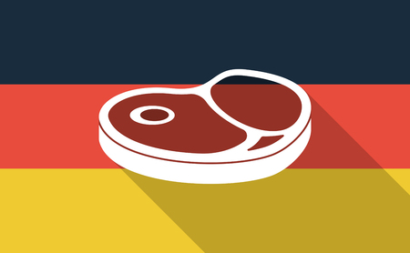 Illustration of a long shadow Germany flag with  a steak icon Ilustrace