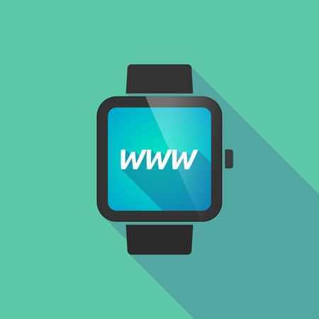 long term: Illustration of a long shadow smart watch with    the text WWW Illustration