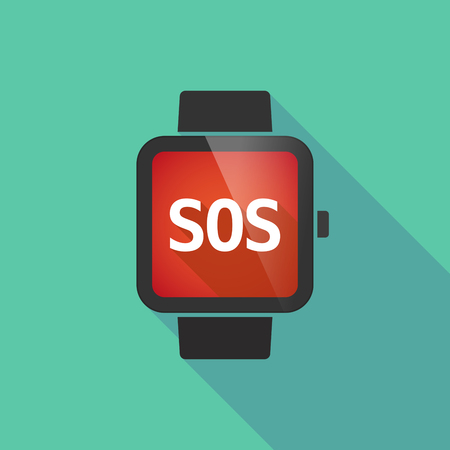 long term: Illustration of a long shadow smart watch with    the text SOS Illustration