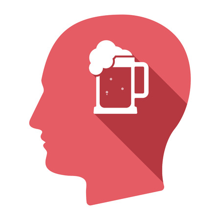 tarro cerveza: Illustration of an isolated long shadow male head with  a beer jar icon Vectores