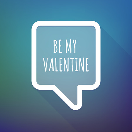 Illustration of a long shadow tooltip with    the text BE MY VALENTINE