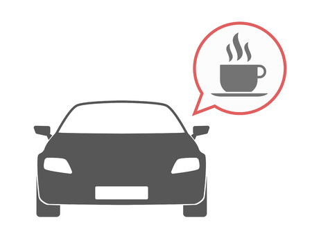 Illustration of an isolated car and a comic balloon with a cup of coffee Ilustração