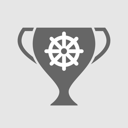 Illustration of an isolated award cup with a dharma chakra sign