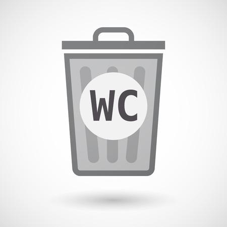 wc: Illustration eines isolierten Mülltonne mit dem Text WC