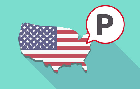 USA map with a comic balloon with    the letter P