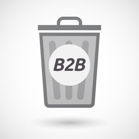 b2b: Illustration of an isolated trashcan with    the text B2B Vectores