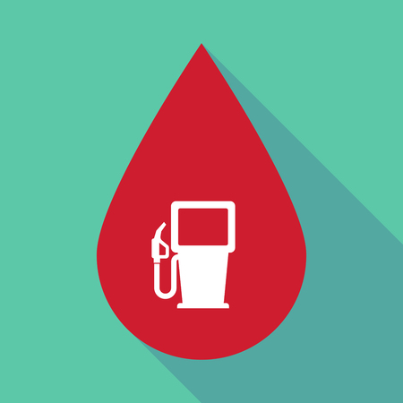 Illustration of a long shadow blood drop with a gas station