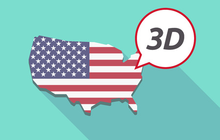 USA map with a comic balloon with    the text 3D Illustration