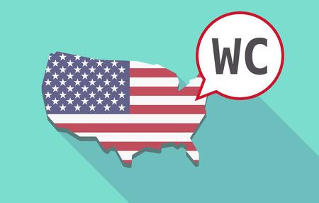 wc: USA-Karte mit einem Comic-Ballon mit dem Text WC