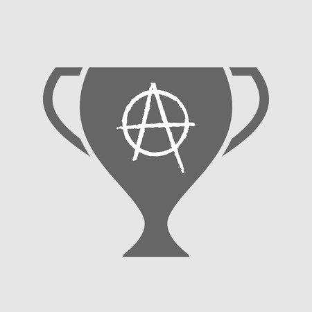 riot: Illustration of an isolated award cup with an anarchy sign
