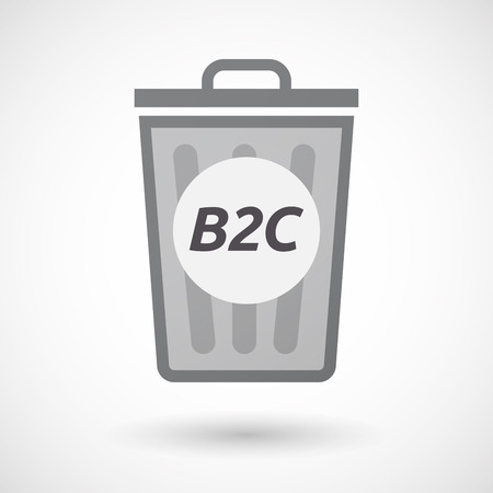 b2c: Illustration of an isolated trashcan with    the text B2C Illustration