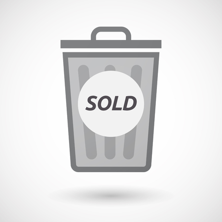 stock quote: Illustration of an isolated trashcan with    the text SOLD