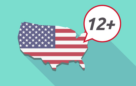 approval rate: USA map with a comic balloon with    the text 12+ Illustration
