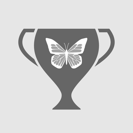 beauty contest: Illustration of an isolated award cup with a butterfly