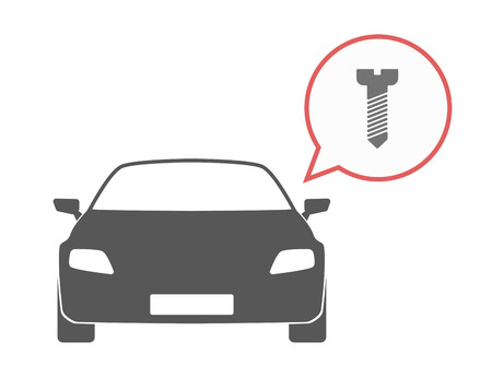 drive nail: Illustration of an isolated car and a comic balloon with screw icon