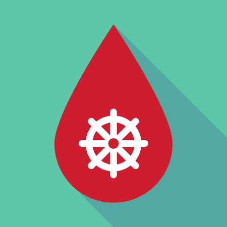 Illustration of a long shadow blood drop with a dharma chakra sign