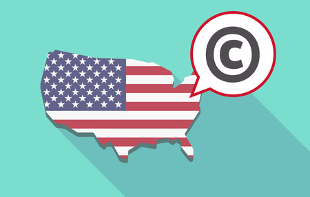 trademark: USA map with a comic balloon with    the  copyright sign