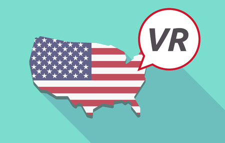 USA map with a comic balloon with    the virtual reality acronym VR