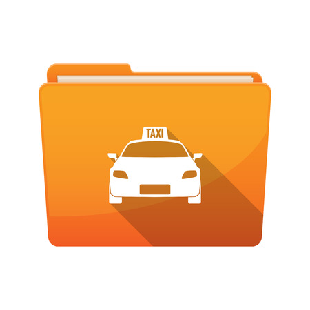Illustration of an isolated long shadow folder with  a taxi icon Illustration